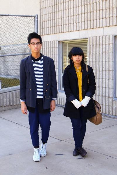 black coat - navy jeans - dark gray blazer - navy striped shirt - mustard shirt