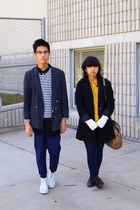 black coat - navy jeans - dark gray blazer - navy striped shirt - mustard shirt