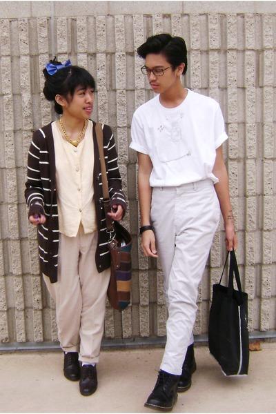 brown banana republic cardigan - beige unknown brand shirt - beige unknown brand