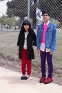 Black-coat-sky-blue-jacket-bubble-gum-shirt-tan-shirt-deep-purple-pants-