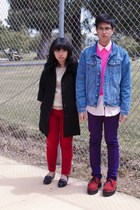 black coat - sky blue jacket - bubble gum shirt - tan shirt - deep purple pants