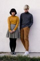 mustard turtleneck sweater - dark gray turtleneck H&M sweater - bronze H&M pants