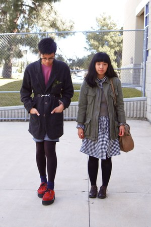 black gingham dress - dark gray pointe west coat - army green Urban Outfitters j