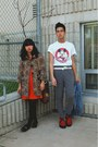 Carrot-orange-dress-brown-h-m-coat-black-target-loafers-red-demonia-shoes-