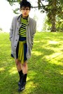 Dark-khaki-coat-chartreuse-h-m-sweater-dark-gray-blazer-chartreuse-shirt-