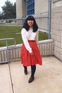 Red-thrift-skirt-black-h-m-blazer-navy-forever-21-coat-ivory-thrift-blouse