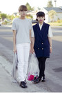 White-american-apparel-jeans-ivory-shirt-navy-diy-vest-navy-skirt