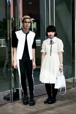 white Anthropologie dress - black Marni at H&amp;M jacket