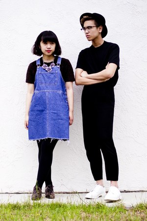 black H&M pants - white shoes - blue overall dress - black Gap t-shirt