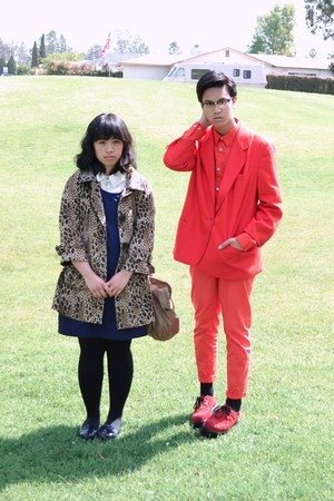 navy H&M dress - tan leopard H&M coat - red jacket - red H&M shirt - red H&M pan