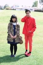 navy H&M dress - tan leopard H&M coat - red jacket - red H&M shirt - red H&M pan