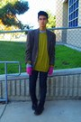Chartreuse-h-m-sweater-camel-h-m-sweater-magenta-gloves-brown-cardigan