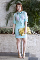 aquamarine Lore shirt - yellow snake print Lore bag - aquamarine lace Lore skirt