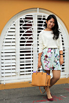 Forever New skirt - ivory Cinch sweater - silk Chanel scarf