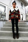 Dark-brown-jeffrey-campbell-boots-brick-red-pendleton-coat-black-cheap-monda