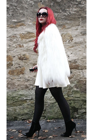 ivory lace biker noname jacket - white faux fur Zara jacket