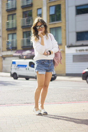 bubble gum Topshop bag - black asos shoes - navy Levis shorts