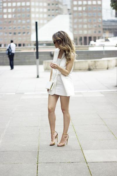 white Primark bag - white Mango vest - white Bershka skirt - mustard Zara heels