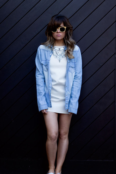 aquamarine Primark necklace - violet H&M dress - black karimba sunglasses