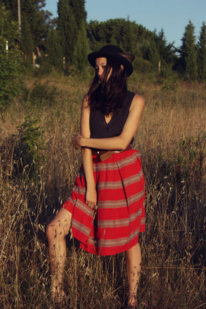 red vintage skirt - blue Cheap Monday shirt - brown vintage belt