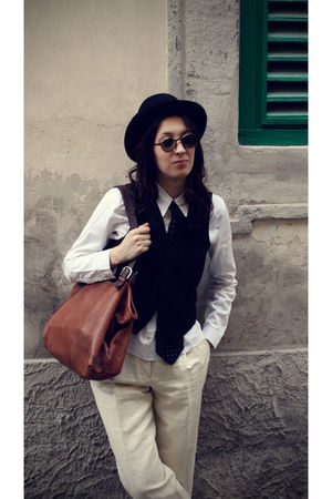 black vintage hat - black vintage vest - blue Waterville tie - white Miu Miu shi