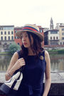 Beige-vintage-hat-gold-vintage-accessories-blue-claudie-pierlot-dress-whit