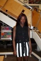 black sheer top Forever 21 blouse - white Forever 21 skirt