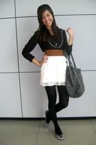 black blouse - silver shoes - gray