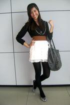 black blouse - silver shoes - gray
