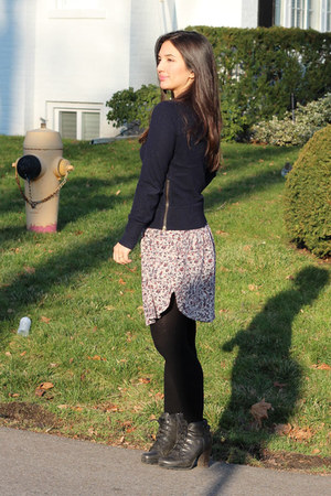 navy Club Monaco sweater - black lace-up Aldo boots