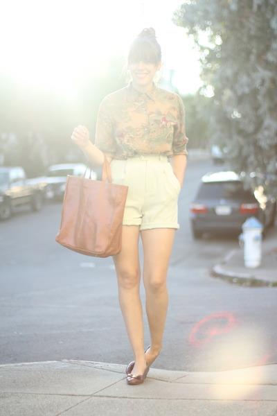 dark khaki novelty print vintage shirt - aquamarine silk vintage shorts