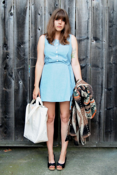 light blue thrifted vintage dress - tan wool BBDakota coat - white tote E&amp;Co bag