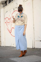 cat print vintage sweater - ankle vintage boots - chambray maxi vintage dress
