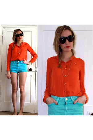 Topshop shorts - hm shirt - black hm sunglasses