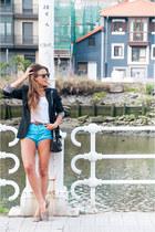 black Promod blazer - gold vintage bag Zara bag - sky blue Zara shorts