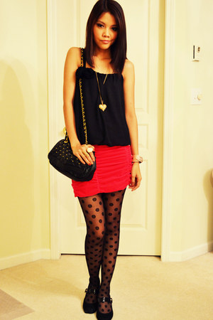 Urban Outfitters tights - Aldo purse - black H&M top - hot pink H&M skirt