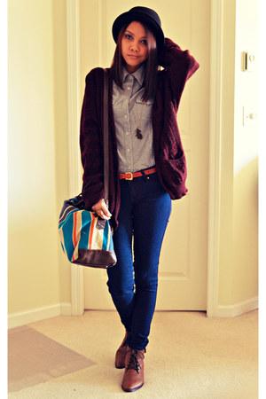 H&M boots - garage jeans - crimson thrifted sweater - my moms closet shirt
