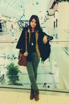 army green pants - mustard American Apparel jacket - tawny H&M bag