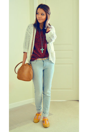 mustard Urban Outfitters shoes - skinny jeans Zara jeans - H&M bag