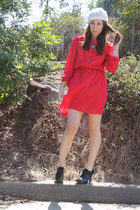 red dress - black ankle boots Payless shoes - white white beanie Roxy hat