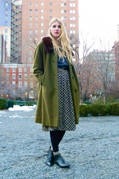 thrifted boots - thrifted vintage coat - thrifted blouse - thrifted skirt - thri