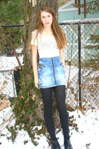 lace thrifted shirt - black ribbed vintage tights - acid wash H&M skirt - black