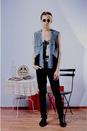 sky blue hand-made vest - black Zara shoes - black H&amp;M jeans
