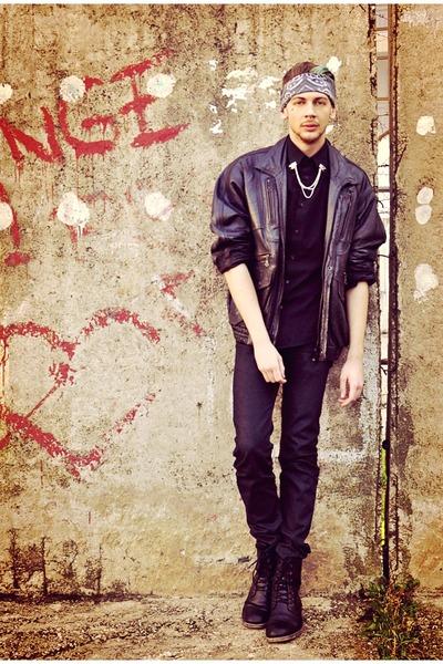 black Zara shoes - black Zara jeans - black Vintage store jacket
