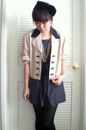 black H&M accessories - beige vintage blazer - gray Forever 21 dress - black For
