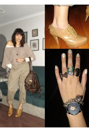 brown sweater - brown pants - brown purse - brown Steve Madden shoes - green acc