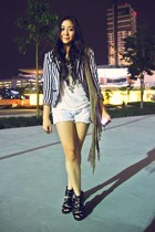 H&M blazer - fringed Topshop bag - Forever 21 shorts - H&M wedges