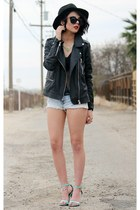 black felt Front Row Shop hat - black motorcycle Forever 21 jacket