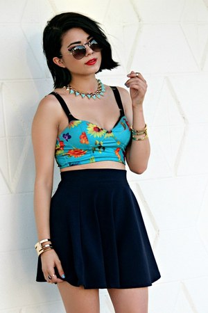 navy skater Yesstyle skirt - sky blue floral Motel Rocks top