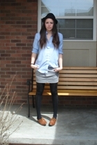 vintage shirt - H&M skirt - Forever21 tights - vintage shoes